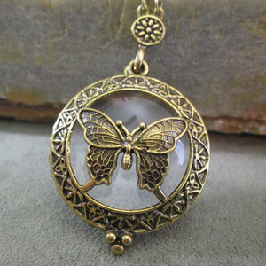 BUTTERFLY Loupe Necklace 5X Magnification Pendant